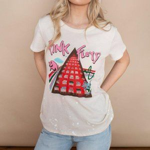 NWT Chaser Pink Floyd Cream White Paint T-Shirt L